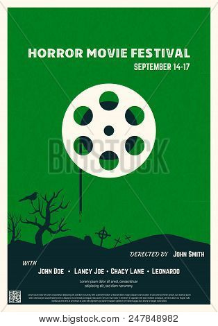 Retro Style Horror Movie Poster. Green Background And Black Trees And Graveyard. Film Festival Poste