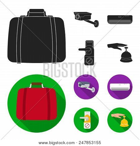 Luggage, Surveillance Camera, Air Conditioning, Do Not Disturb The Sign.hotel Set Collection Icons I