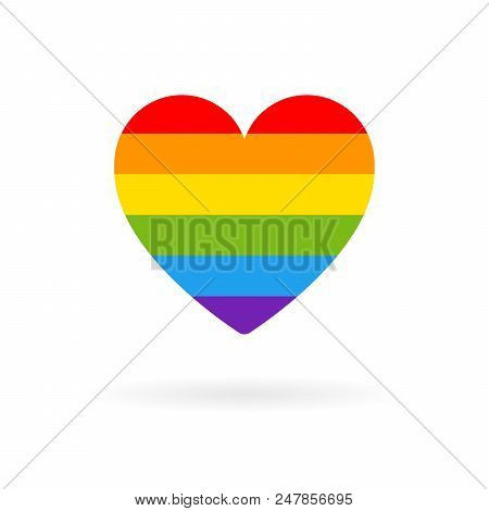 Pride Lgbt Heart Vector Icon, Lesbian Gay Bisexual Transgender Concept Love Symbol. Flag Color Rainb