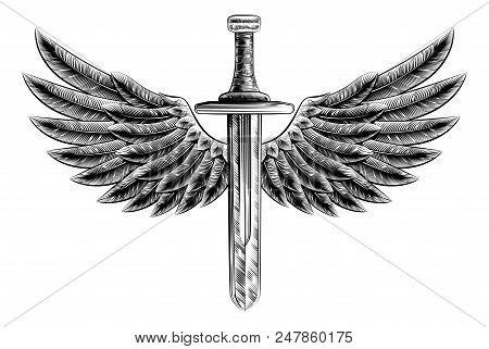 Original Illustration Of Vintage Woodcut Style Sword With Eagle Bird Or Angel Wings