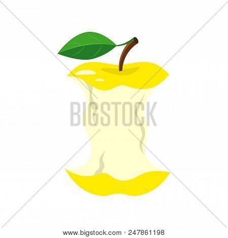 Yellow Apple Stub. Vector Illustration Isolated On White Background.