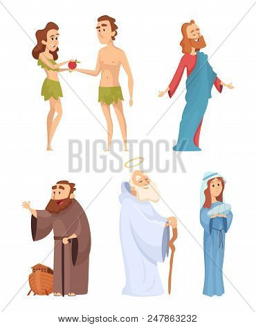 Historical Characters Of Bible. Vector Mascots In Various Poses. Illustration Of Character Bible Eve
