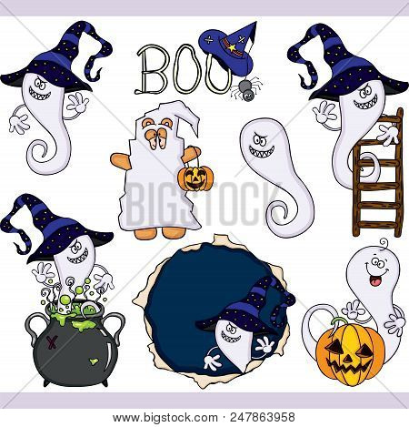 Scalable Vectorial Representing A Boo Ghost Halloween Set Digital, Illustration With Elements For Yo