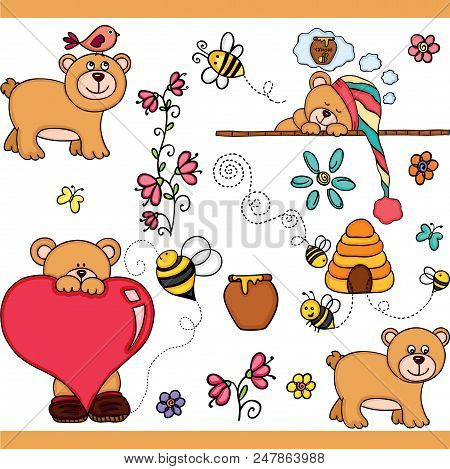 Scalable Vectorial Representing A Cute Teddy Bear Set Digital , Illustration With Elements For Your