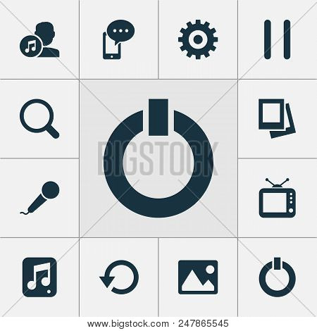 Multimedia Icons Set With Karaoke, Gallery, Start And Other Refresh Elements. Isolated Vector Illust
