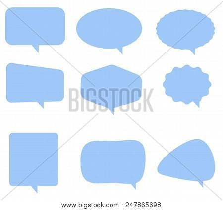 Speech Bubble Icon On White Background. Flat Style. Blank Empty Blue Speech Bubbles. Speech Bubble S