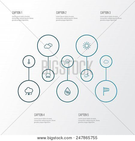 Weather Icons Line Style Set With Rainstorm, Thermometer, Snowfall And Other Overcast Elements. Isol