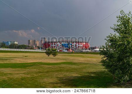 23 June 2018. Russia. Moscow. View Stadium Spartak During The Match Belgium - Tunisia. Slow Zoom