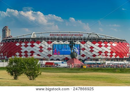 23 June 2018. Russia. Moscow. View Of The Stadium Spartak After The Match Belgium - Tunisia. Fans Co