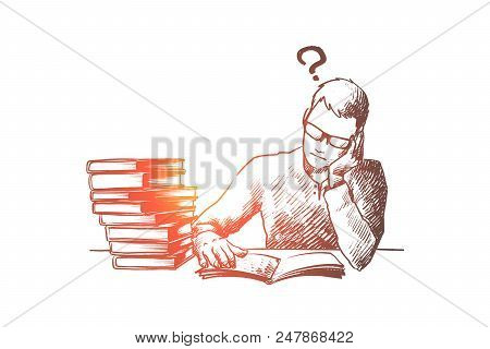 Education, Book, Student, Study Concept. Hand Drawn Student Doing His Homework With A Lot Of Books C