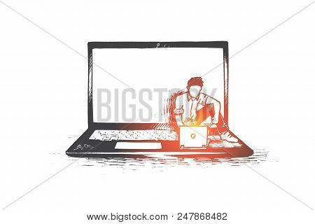 Computer, Programmer, Coding, Software Concept. Hand Drawn Software Developer Sitting On Laptop And