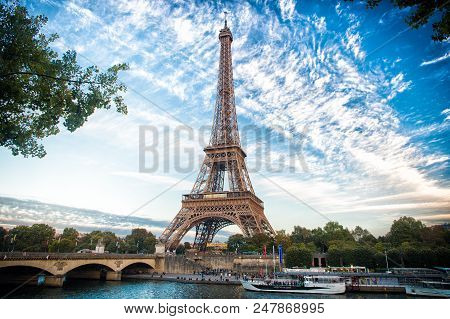 From Paris With Love. Eiffel Tower At Sunset In Paris, France. Romantic Travel Background. Eifell To