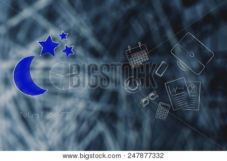 Working Shifts Conceptual Illustration: Night Shift Moon Icon Next To Group Of Mixed Business Object