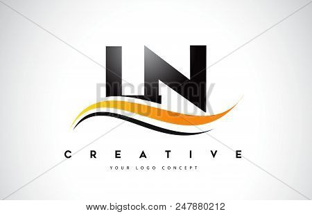Ln L N Swoosh Letter Logo Design With Modern Yellow Swoosh Curved Lines Vector Illustration.