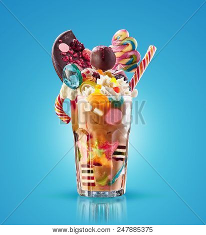 Monster Shake, Freak Caramel Shake. Colourful, Festive Milk Shake Cocktail With Sweets, Candy, Jelly