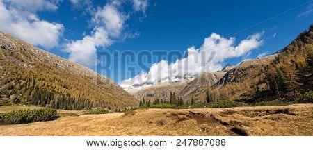 Peak Of Care Alto (3462 M) In The National Park Of Adamello Brenta Seen From The Val Di Fumo In Autu