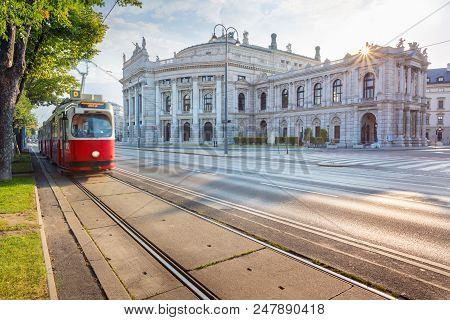 Vienna. Cityscape Image Of Vienna With The Burgtheater And The Ring Road During Sunrise.