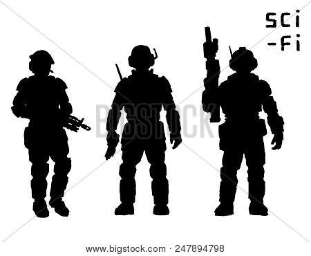 Heavy Infantry In Armor Suit With Plasma Rifle. Vector Illustration. Science Fiction Original Charac