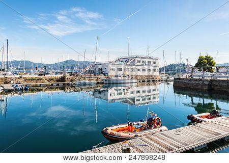 Vigo, Spain - May 20, 2017: Rubber Rescue Boats Moored In The Port Of Vigo, Galicia, Spain. The Real