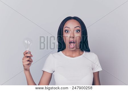 Incredible! Portrait Of Beautiful Amazed Astonished Shocked Surprised Clever Intelligent Smart Prett