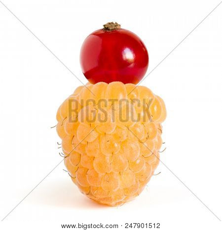 White Ripe Raspberry with Red Currant on the Top Isolated on the White Background
