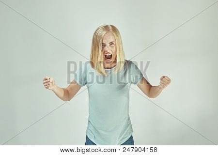 Screaming, Hate, Rage. Crying Emotional Angry Woman Screaming On Gray Studio Background. Emotional,