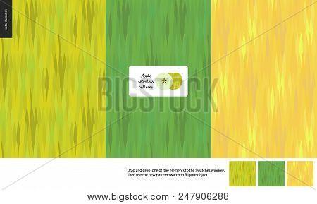 Food Patterns, Flat Vector Illustration -apple Texture, Small Half Of Green Apple Image, Three Seaml