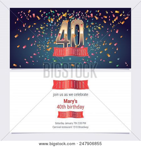 40 Years Anniversary Invitation Vector Illustration. Graphic Design Template With Golden Number For