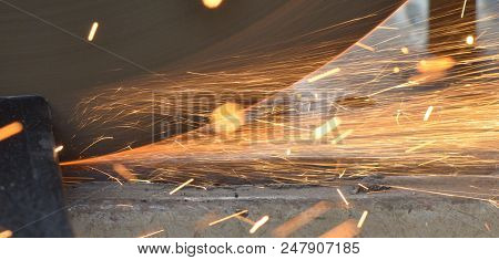Image Of Beautiful Pattern Of Spark Stream From Steel Cutter Machine, Sparkle Light, Sparkle Stream,