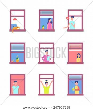 People In Open Windows Isolated On White. Men And Women Neighbours In Window Frames Doing Daily Acti