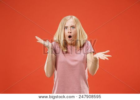 Screaming, Hate, Rage. Crying Emotional Angry Woman Screaming On Red Studio Background. Emotional, Y