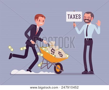 Tax Evasion Attempt. Young Man Try To Commit Crime Of Not Paying The Full Amount Of Taxes, Running A
