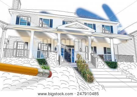 Pencil Erasing Drawing To Reveal Finished Cutom House Design Photograph