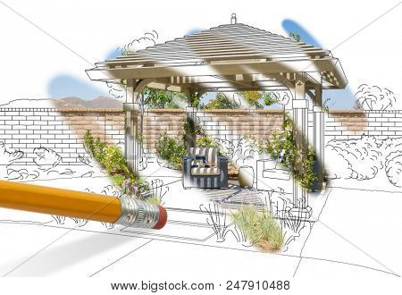Pencil Erasing Drawing To Reveal Finished Pergola Patio Cover Design Photograph