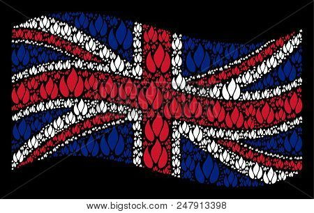 Waving United Kingdom Flag On A Black Background. Vector Fire Items Are United Into Conceptual Unite