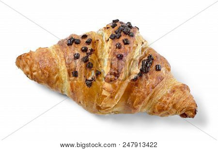 Delicious French Chocolate Croissant Or Butter Croissant With Chocolate Filling And Chocolate Crumbl