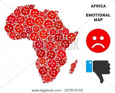 Sorrow Africa Map Mosaic Of Sad Emojis In Red Colors. Negative Mood Vector Template Of Crisis Region