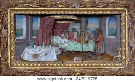 STITAR, CROATIA - NOVEMBER 24: Healing the mother of Peter's wife altarpiece in the church of Saint Matthew in Stitar, Croatia on November 12, 201.