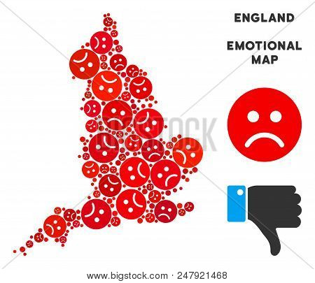 Sorrow England Map Mosaic Of Sad Emojis In Red Colors. Negative Mood Vector Template Of Crisis Regio