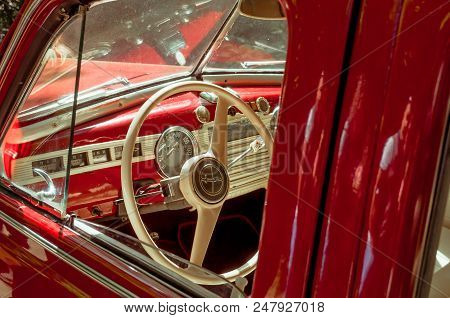 Ukraine, Lviv - July 3, 2018: Old Retro Car, Interior Retro Car, Retro Car Interior Beautiful, Red I