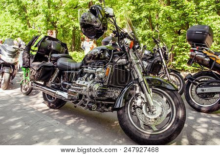 Ukraine, Lviv - July 3, 2018: Black Motorcycle Honda Valkyrie Stands On The Street, Honda Valkyrie