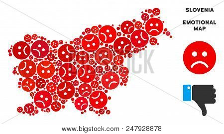 Sorrow Slovenia Map Collage Of Sad Emojis In Red Colors. Negative Mood Vector Template Of Crisis Reg
