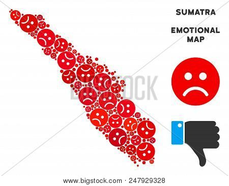 Sorrow Sumatra Island Map Mosaic Of Sad Emojis In Red Colors. Negative Mood Vector Concept Of Depres
