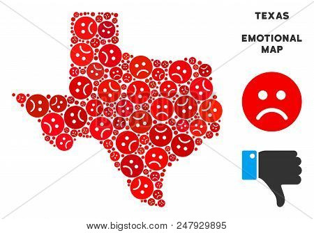 Emotion Texas Map Composition Of Sad Emojis In Red Colors. Negative Mood Vector Concept Of Depressio