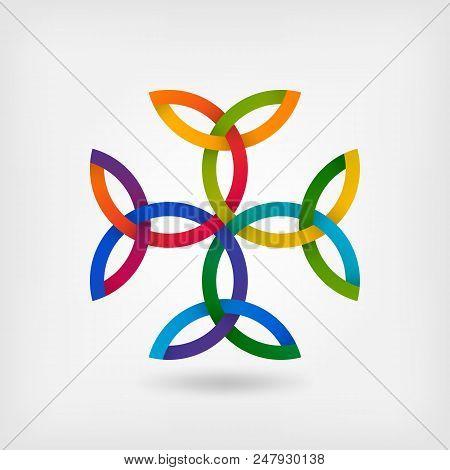Carolingian Cross Trinity Knots. Celtic Symbol In Gradient Colors. Vector Illustration - Eps 10