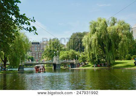 Scenic Landscape Views Of The Boston Public Garden In Boston, Massachusetts.