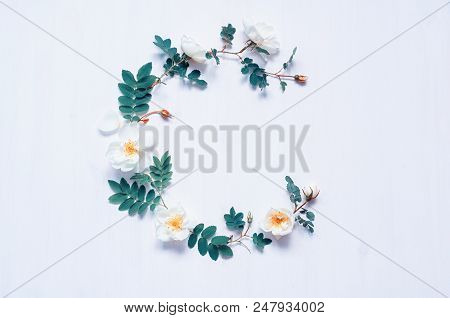 Summer Flower Background With Composition Made Of White Summer Rose Flowers. Flat Lay, Top View. Sum