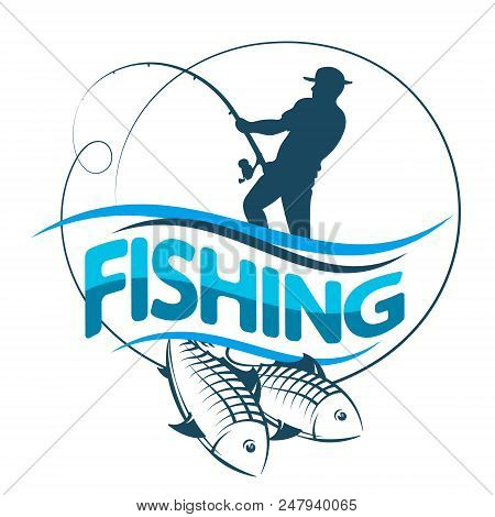 Fisherman Catches Fish Silhouette Vector  Icon N
