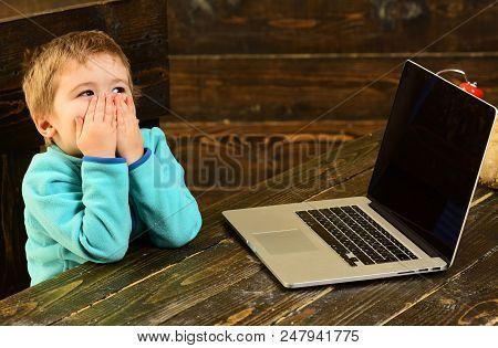 Online Education. Online Education In Elementary School. Little Boy Use Laptop In Online Education.