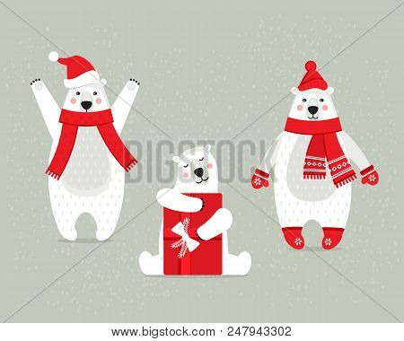 Set Of Beautiful White Polar Christmas Bears, In Winter Clothes With Accessories And Gifts. Cute Chr